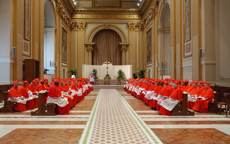 Cardinals gather before the start of the
